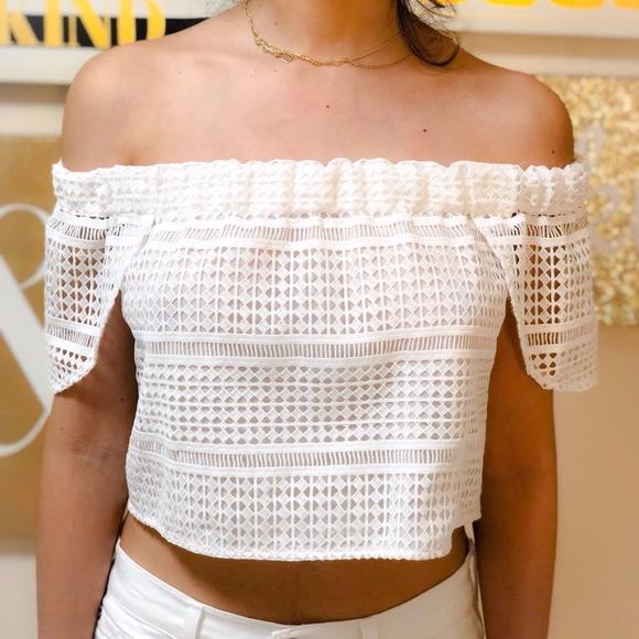 999ab8e6e818 NICHOLAS Tops | White Diamond Lace Off Shoulder Top Sz 0 | Poshmark